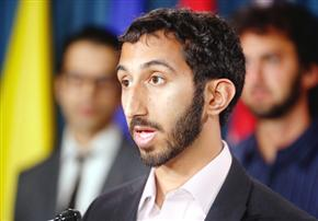 Deepan Budlakoti, a Canadian born of Indian parents who is under threat of deportation to India because of a drug offence, was on Parliament Hill Wednesday with lawyers and supporters pleading his case against deportation. Photo Credit: Julie Oliver, Ottawa Citizen