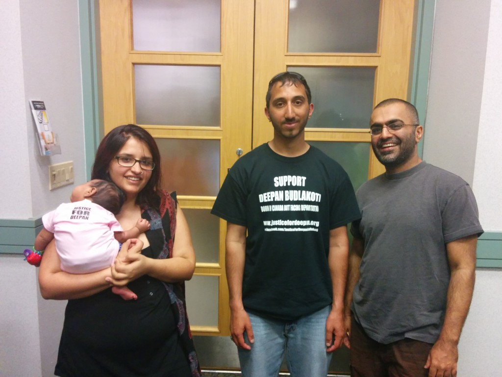 Deepan with Harsha Walia and Harjap Grewal and little one in Vancouver.